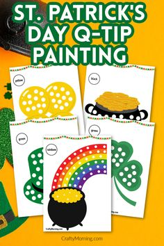 St. Patrick's Day Q-Tip Painting Printables Science Crafts, Science Art, Q Tip Painting, Craft Day, Pot Of Gold, Painted Pots, 4 Kids, Paper Plates, St Patricks Day