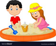 Kids playing on the beach building a sand castle d Kids Sand, Sand Play, Art Drawings For Kids, Art For Kids, Castle Vector, Castle Illustration, Play Image, Building Sand, Emoji Images