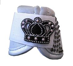 Custom White over-reach boots with crown and rhinestones from Craft & Crown. Also on www.facebook.com/craftandcrown