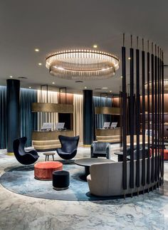 When it comes to getting a hotel ready to greet its guests, a lobby design is a tell-all. The entrance to a brand new world of luxury, these luxurious hotel lob Hotel Lobby Design, Hotel Bedroom Design, Modern Hotel Lobby, Corporate Office Design, Lounge Design, Decoration Inspiration, Interior Design Inspiration, Design Ideas, Decor Ideas