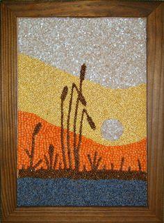 Мастера. Как сделать картину из зерен? Art Drawings For Kids, Art For Kids, Seed Craft, Seed Bead Art, Button Art, Nature Crafts, Dot Painting, Craft Work, Mosaic Art