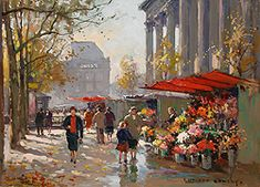 Flower Seller at the Madeleine by Edouard Leon Cortes