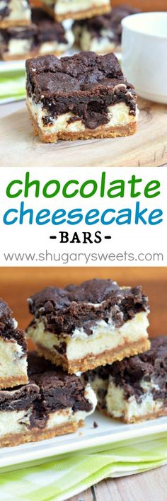 Chocolate Cheesecake Bars Recipe - a yummy party dessert idea