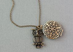 Essential Oil Diffuser Necklace, Owl Necklace, Aromatherapy Jewelry, Essential…