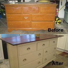 Old dresser I turned into kitchen island