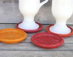 Vintage Tupperware Coasters Lids Autumn Harvest by VintagebyKanina, $7.95