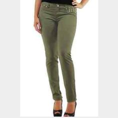 NWT Olive Green Skinny Jeans with stud detail These are so cute! They run small so I would say they fit more like a 7 but they are size 9. Style suggestion shown, but this listing is for pants only. Tinseltown Jeans Skinny