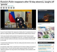 Putin reaparece después de 10 días de ausencia. 16 mar 2015. http://www.reuters.com/article/2015/03/16/us-russia-crisis-putin-idUSKBN0MC10920150316