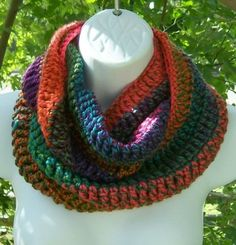 CROCHET INFINITY COWL SCARF BRIGHT MULTI COLORED ORANGES & GREENS DESIGNER