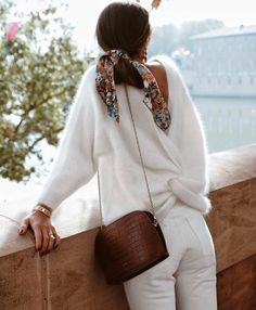 Cute winter outfit. Love the coziness of this sweater and the cute scarf in the hair! #winterfashion #sweaters #scarves #mamaofdrama