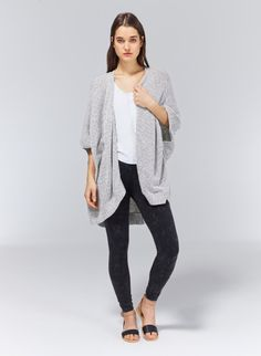 Need this!! Casual cape-like perfection fashioned from a soft cotton-blend yarn.
