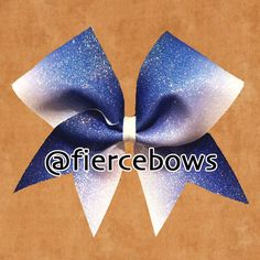 Blue to White Ombre Glitter Cheer Bow by MyFierceBows on Etsy