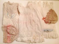 Lot Vintage Baby GIRLS Or Doll DRESSES & BONNETS White, Cotton Crafters #147
