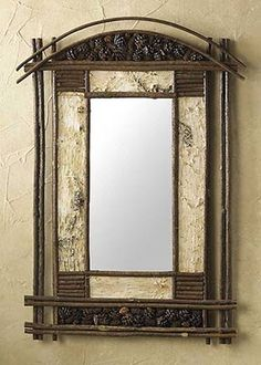 PINEWOODS BIRCH MIRROR ~ A wonderful mirror for any rustic home decor. Features real birch bark and twig border with pinecone accents. (Created from natural elements. Each piece is unique; colors may vary and sizes are approximate. Adirondack Decor, Adirondack Furniture, Willow Furniture, Rustic Furniture, Furniture Ideas, Cabin Furniture, Painted Furniture, Chandeliers, Birch Bark Crafts