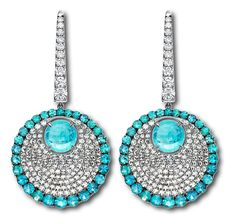 PARAIBA DIVINE DANGLE EARRINGS SET IN 18KT WHITE GOLD WITH CABOCHON PARAIBAS AND MICROSET WITH 56 PARAIBAS AND 268 DIAMONDS