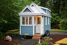 This is the 196 sq. Zoe Tiny House on Wheels at Mt. Hood Tiny House Village where you're welcome to stay! Tiny House Company, Tiny House Blog, Best Tiny House, Tiny House Living, Tiny House Design, Cottage House Plans, Tiny House On Wheels, Small House Plans, Tiny House Movement