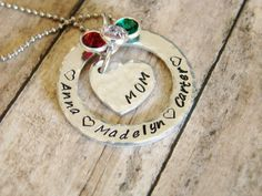 Mom hand stamped jewelry necklace by ChristinesImpression on Etsy, $32.00