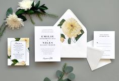 Classic Belle Wedding Invitation A simple wedding invitation is perfectly paired with a bold floral envelope liner featuring a large mum.