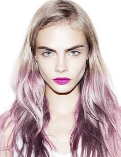 Red Violet lip ~Cara Delevingne by Matt Irwin Cara Delevingne, Ombre Hair, Pink Hair, Marie Claire, Coiffure Hair, Braut Make-up, Purple Ombre, Violet Ombre, Makeup Trends