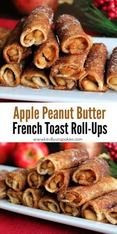 Peanut Butter Toast, Peanut Butter Breakfast, Apple And Peanut Butter, Apple Breakfast, Peanut Butter Recipes, Breakfast Recipes, Breakfast Ideas, Apple French Toast, French Toast Roll Ups