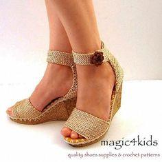 Beautiful wedges sandals women crochet sandals made by magic4kids