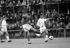 B M'gladbach 0 Leicester City 3  in Aug 1966 in Germany. Colin Appleton shoots for goal in the Friendly.