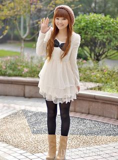 Lovely Bow Knot Lace Dress Clothing