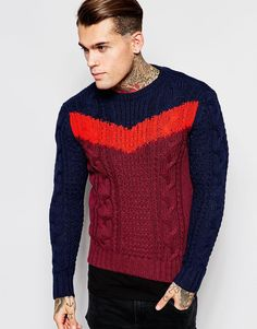 Diesel Crew Knit Jumper K-Patton Chevron Cable