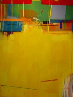 "Glenn Ossiander, ""Memorandum from Mercury"", acrylic on canvas, yellow painting of great lines and shapes and balance"