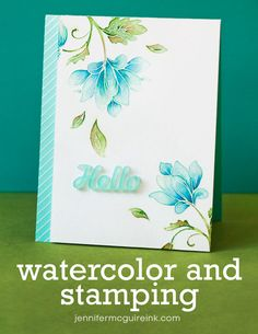 Brilliant tips for using Gansai Tambi Watercolor (or any watercolour paints) Stamping Video tutorial by Jennifer McGuire