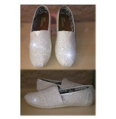 Womens Sparkly White or Ivory Glitter Toms Flats shoes Handmade for Bride Wedding