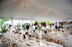 Gorgeous place settings under Frame tent with custom ceiling liner and chandeliers. Place Settings, Table Settings, Event Decor, Event Design, Tent, Table Decorations, Chandeliers, Frame, Ceiling