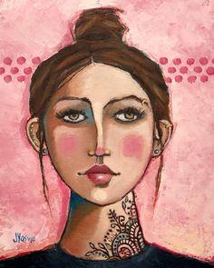 Unafraid to Be Herself by Jennifer Yoswa Abstract Portrait, Portrait Art, Art Journal Inspiration, Painting Inspiration, Arte Pop, Whimsical Art, Face Art, Figurative Art, Oeuvre D'art