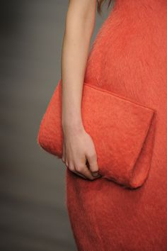 #JohnRocha #AW13 #catwalk #readytowear #LFW #london #orange #fashion #style #closeup #detail #clutchbag #bag