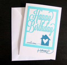 "Geburtstagskarte von Nina Menden für www.danipeuss.de | Silhouette Cameo, Ali Edwards ""Memories of Home"", Dovecraft Karten"