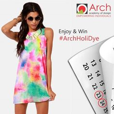 """Are you in the #Colourful Mood Already? #HoliFun If not, Then let's give you the HoliDye vibes! #Holi #Contest  Wear You True Colours this HOLI but in a DESI #Style! Don the Colourful DYED Clothes ( Tie & DYE prints etc) and Get on the #HoliDYE wagon!  > Post Your Picture wearing Stylishly Dyed Clothes & Tag ARCH Academy of Design Also, Use HashTag #ARCHHoliDYe > """"Get Creative- Get Crazy! #ThinkDESIgn  Win Exciting Gifts !! Contest Open till 25th March'16"""