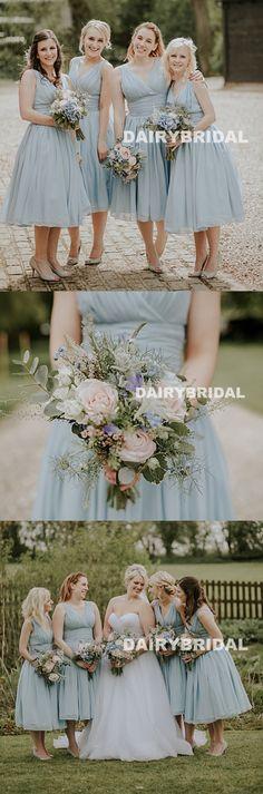 Tea-Length Chifffon Bridesmaid Dresses, V-Neck Sleeveless Cheap Bridesmaid Dresses, KX1044 #okbridal