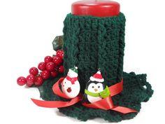 Christmas Hand Crocheted Candle Cozies by lifetimeofhandmade, $29.00