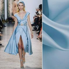 What are you designing with satin? We adore this look from Elie Saab's Spring 2017 Couture collection, both the color and the silhouette! Find a similar baby blue satin face organza on moodfabrics.com with item #PV4000-123.  #fabric #fabricshopping #moodfabrics #mood #fashion #instafashion #lovetosew #sewing #fashiondesign #summer #spring #inspiration #trends #colorful #color #colors #highfashion #eveningwear #formal #gown #luxury #garmentdistrict #designer #runway #style #eliesaab #couture…