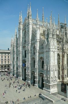 Piazza del Duomo is the main piazza of Milan, Italy. It is named after, and dominated by, the Milan CathedralThe Gothic cathedral took nearly six centuries to complete. It is the fifth largest cath...
