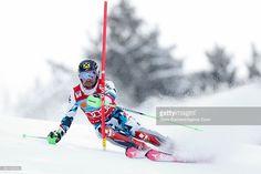 Marcel Hirscher of Austria competes during the Audi FIS Alpine Ski World Cup Men's Slalom on January 15, 2017 in Wengen, Switzerland