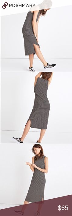"Madewell Mockneck Midi Striped Dress XL New with tags! Size XL. A day-to-night mockneck dress in a special soft and stretchy ribbed fabric from Portugal. Comfy and flattering, this striped style is a wardrobe holy grail. Nonwaisted. Falls 42 3/4"" from high point of shoulder. Tencel®/wool. Madewell Dresses"