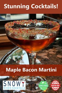 Stunning maple bacon martini from Snowy River - your home for awesome cocktails. Flavored with all natural bacon oils, and garnished with Snowy River cocktail salt rimmer, this cocktail is a must for cocktail parties and other events. Alcoholic Drinks Vodka, Liquor Drinks, Alcohol Drink Recipes, Game Cocktail, Cocktail Parties, Cocktail Drinks, Alcohol Dispenser, Hooch, Keto Drink