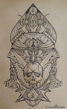 Flower Ace: tattooed leather art. www.puncturedartefact.com