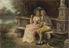 Antonio Lonza (1846-1918) - The flirting couple