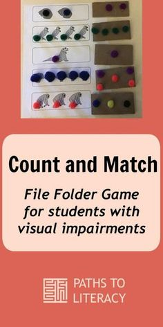 Math counting and matching file folder game for students with visual impairments, including those with additional disabilities.
