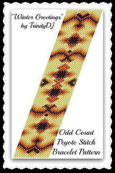 BPAB097  Winter Greetings  Odd Count Peyote Stitch by TrinityDJ, $7.50