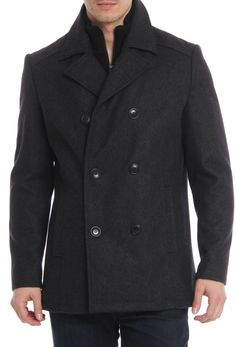 Kenneth Cole Melton Peacoat In Charcoal.