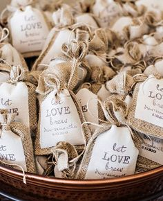 """Wedding Gifts For Bride And Groom """"Let Love Brew"""" burlap coffee favors These Wedding Details Will Appeal To Coffee-Loving Brides And Grooms Wedding Favors And Gifts, Wedding Souvenirs For Guests, Wedding Giveaways Ideas Souvenirs, Useful Wedding Favors, Wedding Giveaways For Guests, Bridal Shower Favors Diy, Bridal Shower Tea, Wedding Favor Bags, Coffee Favors"""