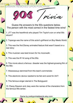 Virtual Party Game, Virtual Girls Night Game, 90s Trivia Game | by Pretty Printables Ink on Etsy. The perfect game for a virtual party night or girls night in! Our 90s trivia game will have you reminiscing on better days. Available to instantly download and print if you're getting together in person or share by email or by presenting your screen if you're using for a virtual party game or virtual girls night game! #virtualpartygame #virtualgirlsnight #girlsnightin #virtualmomsnight…